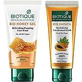 Biotique Bio Honey Gel Refreshing Foaming Face Wash, 150ml & Biotique Bio Papaya Revitalizing Tan Removal Scrub, 50g