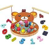 mysunny Giochi in Legno Pesca per Bambini, Gioco Montessori educativi Magnetica, Giocattoli per l'apprendimento del conteggio