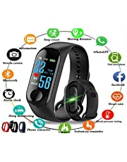 PACC MAN M3 Smart Band Fitness Tracker Watch Heart Rate with Activity Tracker Waterproof Body Functions Like Steps Counter, Calorie Counter, Blood Pressure, Heart Rate Monitor LED Touchscreen