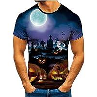 T-Shirt für Herren Kurzärmliges Oberteil Sommer Shirt mit Halloween-Bedrucktes Lässig Kurzarmshirt Freizeit Rundhals…