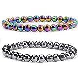 Pure Aura Set of 2 Hematite Bracelet, Beaded Bracelet Black and Rainbow 8 mm Root Chakra Bracelets-Healing Gemstone Bracelet