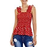 Eledobby Donna Summer Vest Stripes Stampa Senza Maniche Button Down Top Magliette con Scollo a V Magliette Casual da Donna Tu