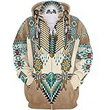Naixin Felpa con Cappuccio da Uomo Indiano Felpa con Cappuccio da Nativo Americano Felpe Etniche Stile Indiano Art Swag Lupo