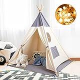 besrey Tipi Enfant Tipi Tente Bébé Intérieur Tente Enfant avec Lumiere Toile de Tente Bébé Pliable Tente de Jeux pour Enfants