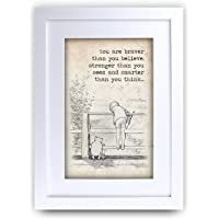 HWC Trading FR Winnie the Pooh Braver Stronger Smarter A4 Framed Printed Quote Nursery Print Baby Shower Room Gifts New Born Bedroom Gift Print Photo Picture Frame Display
