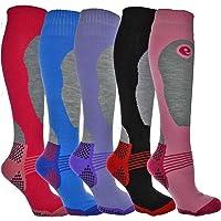 Set di 4 paia di calze termiche da sci, da donna, lunghe, a elevate prestazioni, taglia: 36-40