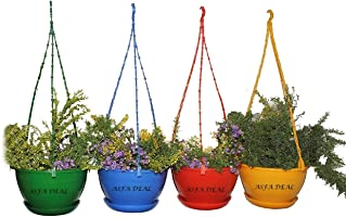 Asfa Deals Hanging Pot (Pack Of 4) Multi Colour