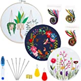 Borduurwerk Starter Kit,3 Pack Cross Stitch kit met bloemen of plantenpatroon en instructies,1 borduurwerk bamboe hoepel, 1 s