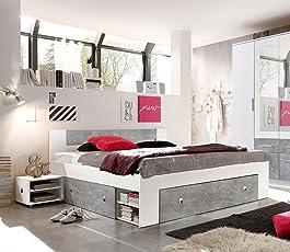 Lifestyle4living Bett, Schlafbett, Kojenbett, Schlafzimmerbett, Doppelbett,  140x200, Beton, Grau