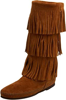 Minnetonka Calf Hi 3-Layer Fringe Boot 1638, Stivaletti Donna