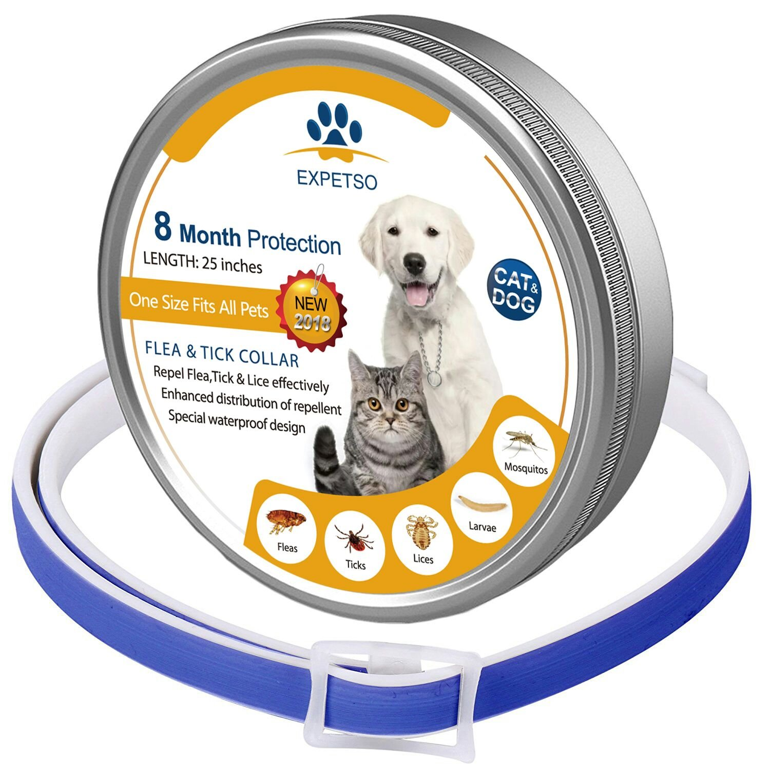 EXPETSO Flea and Tick collar for Dog Cat 8 Months Effective Protection adjustable length 60cm for Small Medium Large Pets BLUE