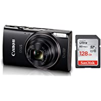 Canon IXUS-285 HS 20.2MP Point and Shoot Camera with 12x Optical Zoom (Black) + SanDisk 128GB Ultra SDXC UHS-I Memory…