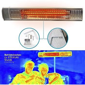 Gardigo - Lampada Riscaldante a Raggi Infrarossi per Esterni; Stufa per Riscaldare Balconi Terrazze e Giardino; Tubo Impermeabile con Rivestimento in Oro; 2000 Watt; Classe di Protezione IP65