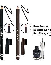 AYA Cameleon Eyebrow Pencil with Brush (Black, Dark Brown) with Resme Waterproof Eyeliner B