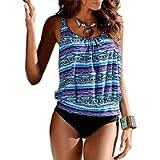 Blivener Women Padded Push Up 2 Pieces Tankini Sets Printed Flattering Casual Beachwear