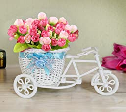 Tied Ribbons Vase Cycle Shape Flower Pot with Flowers (Multicolour)