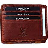 Matador Magic Slim Wallet Leder Geldbeutel Herren RFID Geldbörse Männer mit Münzfach Portemonnaie Klein (Antik Braun)