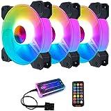 مراوح تبريد لجهاز الكمبيوتر، 3 علب 120 ملم من الفضاء اللوني RGB، بايقاع موسيقي ايه ار جي بي للوحة التحكم SYNC/RC 5 فولت بالوا