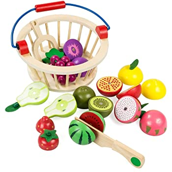 8a3e0503453ee Elover Cutting Food Fruit Set Wooden Pretend Play Food Toys with Basket  Kitchen Accessory Baby Toys for Kids Toys for 3 years old Boys Girls
