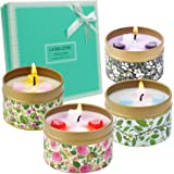 LA BELLEFÉE Scented Candles Rose, Vanilla, Lavender, Jasmine Gift Set Travel Tin Gift Pack For Mother's Day, Christmas, Weddings, Parties, Valentine's Day And Home Decor 4 Packs Gift