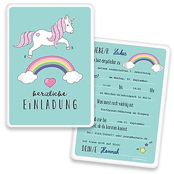 Einladungskarten Einhorn Mit GLITZER Kindergeburtstag   Regenbogen    Unicorn | 10 Stück | Geburtstag | Einladungskarte