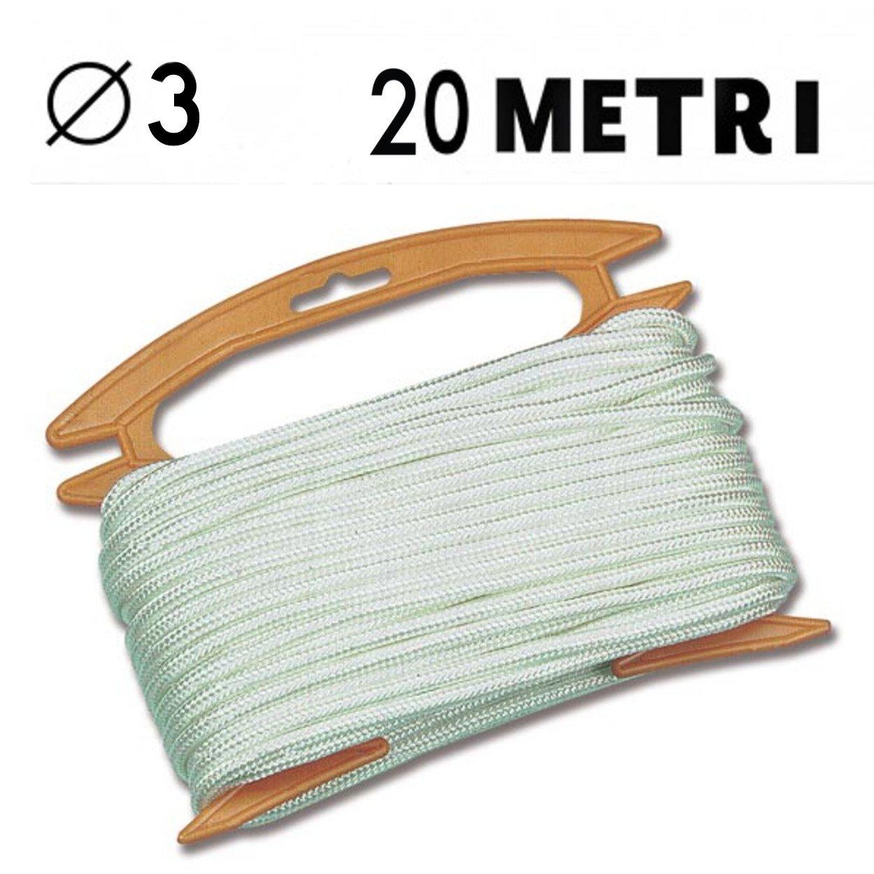 Corda elastica bianca confezione self service in bobina da 20 metri diametro corda 3 mm nautica (078