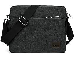 LOSMILE Schultertasche Herren, Mittel Umhängetasche, Casual Vintage Stoff Rucksack.12 inch * 3.9 inch * 10.2 inch.(schwarz)