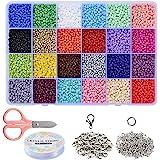 Braleto 24 Kleuren Glas Losse Rocailles Kralen,voor Sieraden Maken voor Kinderen, DIY Armband Decoratie Arts and Crafts Kit(3