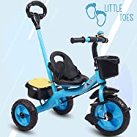 Little Olive Little Toes Baby Tricycle Phthalates Esters Free; Harmful Chemicals Free / Kids Trike / Ride On with Parental Push Bar, Foot Rest | Suitable for Boys & Girls - (1 to 4 Years)