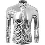 CUSFULL Men's Metallic Silver Shirt Nightclub Styles Long Sleeves Button Down Dress Shirts Shiny Slim Fit Disco Dance Tops Co