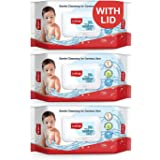LuvLap Paraben Free 99% Pure Water Nourishing Baby Wipes, with Fliptop Lid (72 Wipes/Pack, Pack of 3)