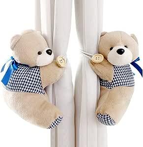 DEHANG - 1 paire Crochet / Embrasse / Boucle de Rideau à fenêtre - Cartoon Ours bébé Kid Fille pépinière Chambre - Bleu foncé