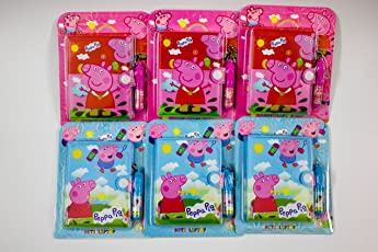 Shopkooky Peppa Pig Cartoon Character Printed Cute Creative Attractive Pocket Diary with Pen - Pack Of 6