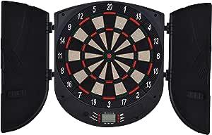 8 Joueurs Cible /électronique LED 9 Touches 27 Jeux OneConcept Dartchamp Noir Fl/échettes automatiques 150 Variantes Armoire /à fl/échettes 12 fl/échettes