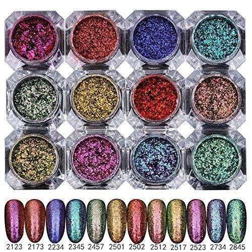 12 FARBEN 2g / Box Sternenhimmel Nagel Glitter Magic Spiegel Chrome Effekt Staub Pigment Twinkle Pulver Mit Pinsel -