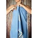 Happy Towels Hamamtuch | Hellblau und Weiß | Badetuch | Saunatuch | 210 cm x 95 cm | 60% Viscose und 40% Bio-Baumwolle | Fair