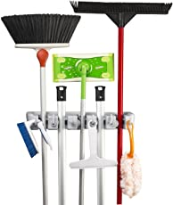 Pindia 5 Slot Wall Mounted Broom Mop Holder with Hooks, (Grey)
