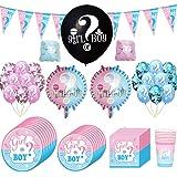 90 Pezzi Baby Shower Decorazioni, Kit Baby Shower Gender Reveal Stoviglie Boy or Girl, con Tazze, Piatti, Tovaglioli, Pallonc
