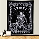 Dremisland Skull Tapestry Kissing Lovers Tarot Wall Tapestry Black & White Moon Phase Skeleton with Rose Wreath Wall…