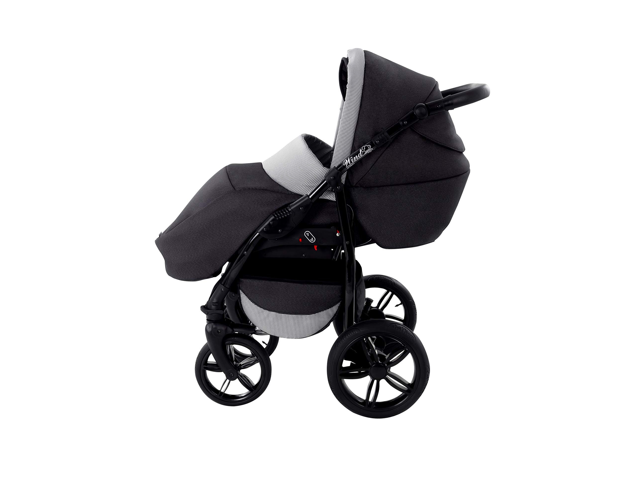 Baby Pram Zeo Wind 3in1 Set - All You Need! carrycot Gondola Buggy Sport Part Pushchair car seat (54) Zeo 3 in 1 combination stroller complete set, with reversible seat units to the buggy, child car seat or baby carriage The baby carriage is suitable for babies from 0 months to 3 years (0-15 kg) Has 360 ° swiveling wheels, four-fold suspension, four-stage backrest, five-position adjustable footrest and a five-point safety belt 7