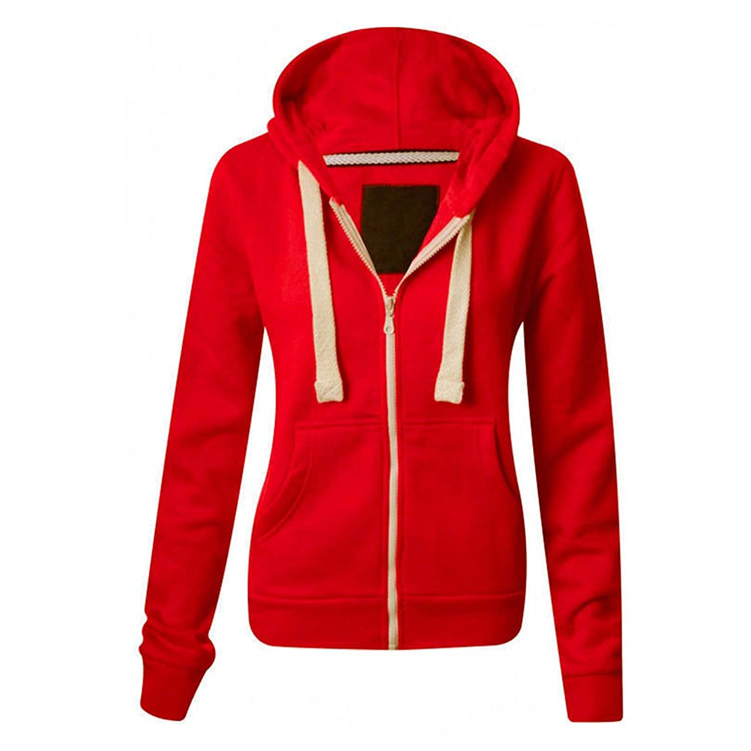 Made by Malaika® WOMENS PLAIN HOODIE LADIES HOODED ZIP ZIPPER TOP ...