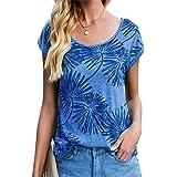 Cassiecy Camiseta de verano de manga corta para mujer, cuello redondo, informal, de algodón