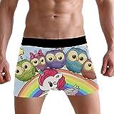 LJXTYJM Men's Boxer Briefs Cute Colorful Bird Rainbow Unicorn Soft Short Underpants Underwear for Men Boys