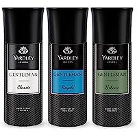 Yardley London Gentleman Range Deo Body Spray Tripack (Classic + Urbane + Royale) for Men, 150ml Each - Pack of 3