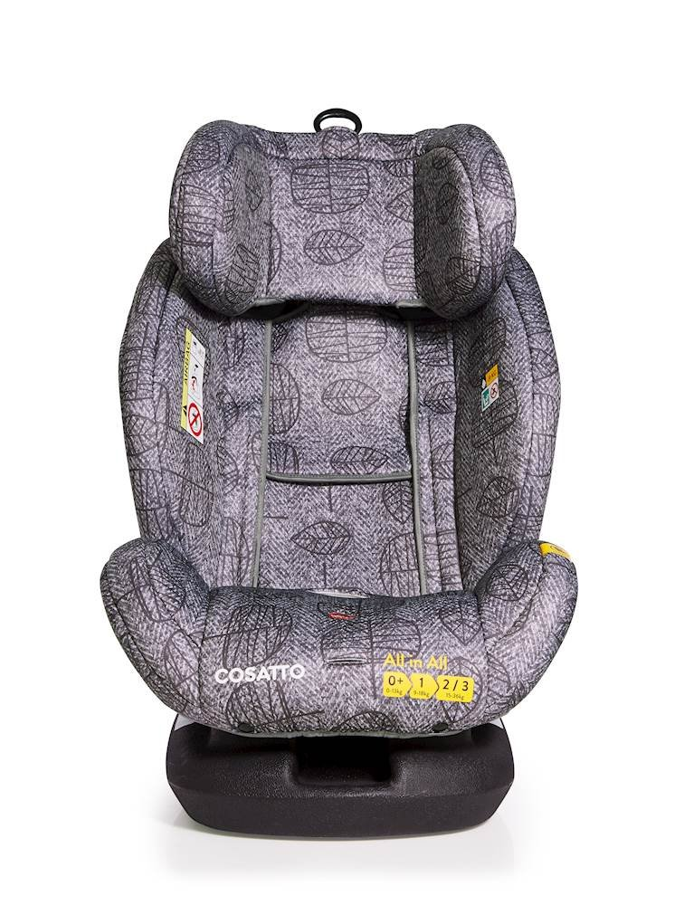 Cosatto All-in-All Group 0+123 Car Seat, Dawn Chorus, 0-36 kg Cosatto This utmost car seat takes your passenger from-birth all the way to 36 kg (approximately 12 years) Rearward-facing 0-13 kg then forward-facing 9-36 kg All-in-all comes with ISOFIX and ISOFIT fitting options for added safety, plus can be belt fitted in all groups 5