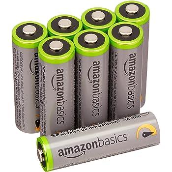 AmazonBasics - Pile Ricaricabili Stilo AA ad alta capacità, pre-caricate, 8 pezzi, durata di 500 cicli (2500 mAh, min. 2400 mAh). Involucro esterno variabile