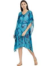 SOURBH Women's Kaftan Top Beach Wear Printed Tassel Bikini Boho Body Cover Up Dress Girls (SK454_Pink)