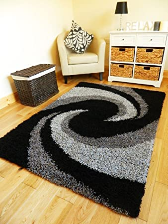 GREY BLACK SILVER NEW MODERN THICK SHAGGY RUGS LARGE SMALL RUNNERS SOFT  SHAG PILE RUG (BLACK SILVER GREY, 66 X 225 CM RUNNER): Amazon.co.uk:  Kitchen U0026 Home Part 67