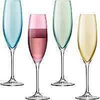 LSA PZ04 Lot de 4 flûtes à Champagne assorties Polka, 225 ml, pastel