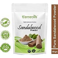Elemensis Naturals Pure & Natural Sandalwood Powder for Face Masks, Facials and Skin Care, 100gm